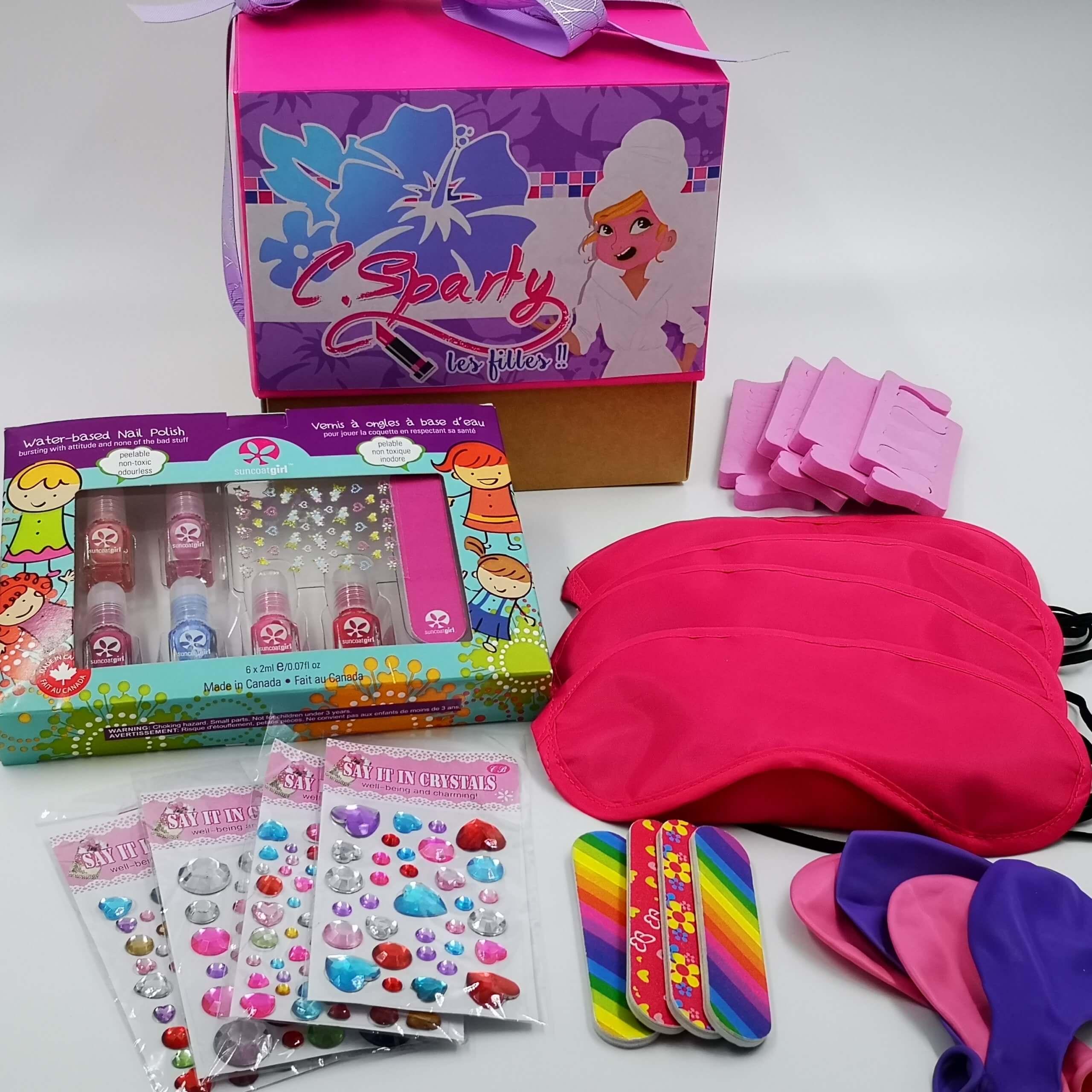 Box anniversaire Pyjama party 4 fillettes C Sparty